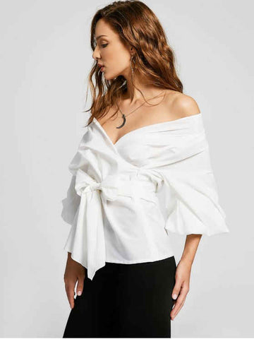 Trendy Belted Off Shoulder Blouse