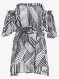 Trendy Belted Striped Dress with Hair Band