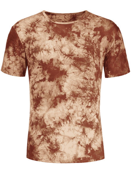 Trendy Men Round Neck Tie Dyed Tee