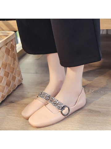 Fashion Rhinestone Buckle Strap Low Heel Flats