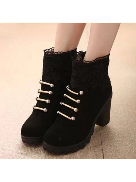 Cheap Metal Embroidery Zipper Ankle Boots