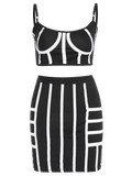 Cropped Striped Top and Bodycon Mini Skirt