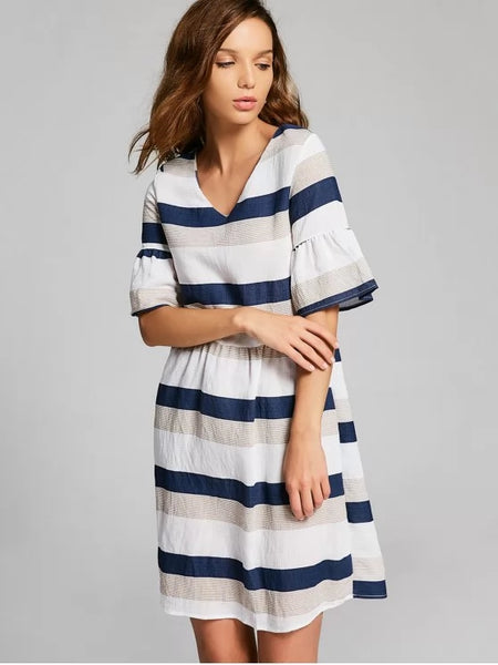 Cute Flare Sleeve Cut Out Striped Dress