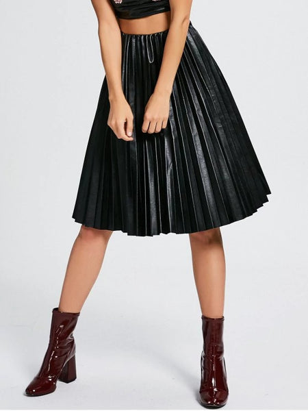Trendy High Waist Pleated Faux Leather Skirt