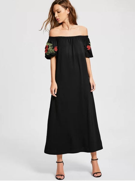 Trendy Floral Patched Off The Shoulder Dress