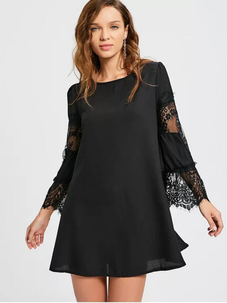 Trendy Long Sleeve Lace Panel Dress