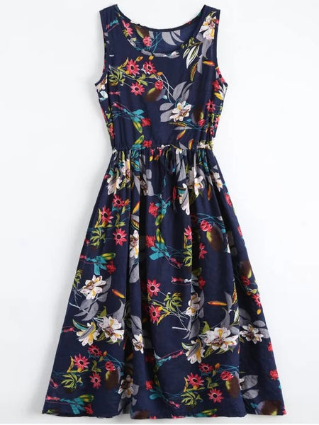 Trendy Floral Drawstring Sleevelss Midi Dress