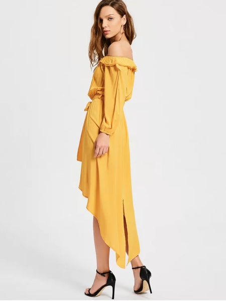 Trendy Off The Shoulder Belted Asymmetric Dress