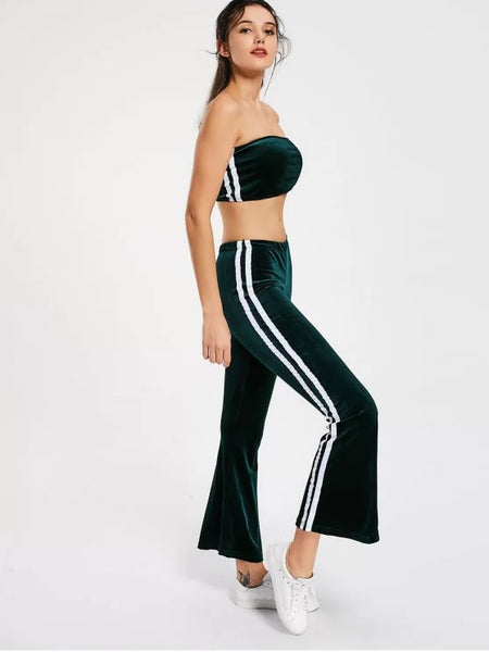 Striped Trim Velvet Tube Top and Flare Pants