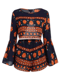 Flare Sleeve Cut Out Top and Floral Shorts