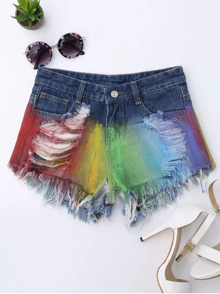Trendy Spray Painting Ripped Frayed Hem Denim Shorts