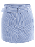Trendy Belted Striped Skorts with Pockets