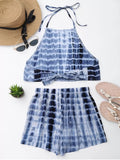 Cut Out Bowknot Cropped Top And Tie Dyed Shorts - Blue S
