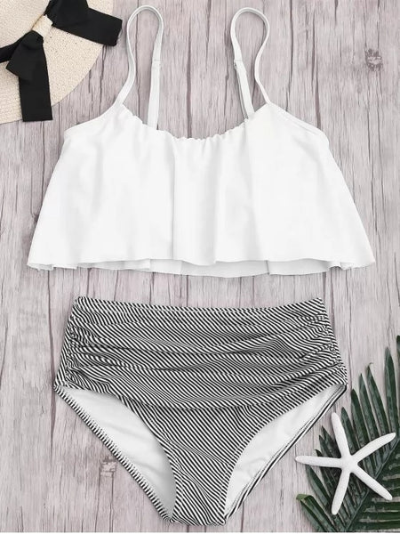 Fashion Plus Size Striped High Waisted Bikini Set