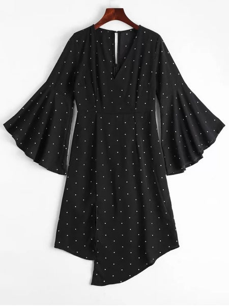 Trendy Polka Dot Surplice Asymmetrical Dress
