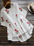 Fun Floral Embroidered High Low Blouse