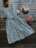 Fashion Drawstring Cold Shoulder Floral Dress