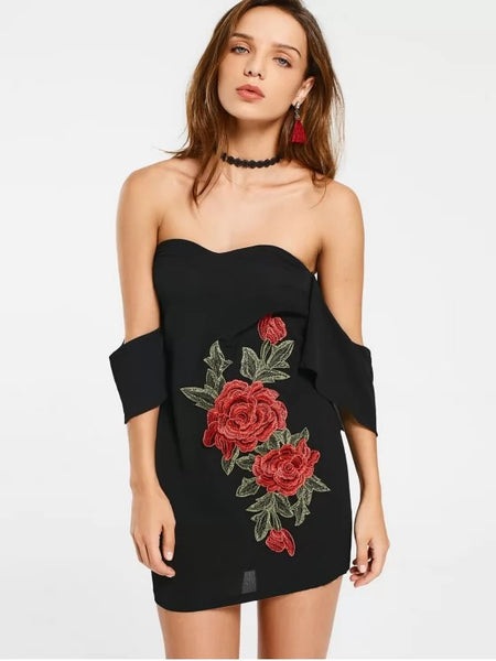 Cute Embroidered Patches Off Shoulder Bodycon Dress