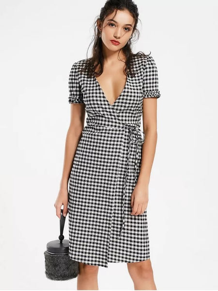 Fashion Checked Ruffles Wrap Casual Dress