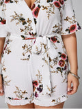 Fun Floral Textured Plus Size Romper