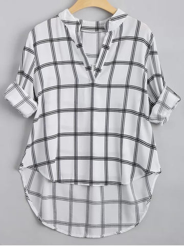 Chic V Neck Checked High Low Blouse