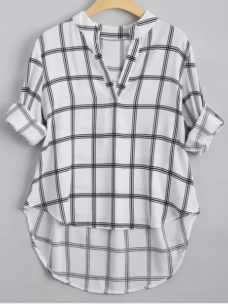 Fun V Neck Checked High Low Blouse