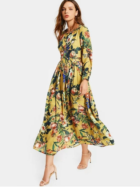 Cute Round Collar Floral Print Long Sleeve Dress