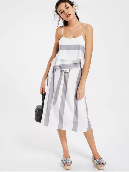 Layers Stripes Tank Top and Bowknot A Line Skirt