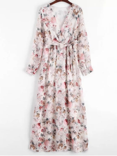 Trendy Plunging Neck Floral Print Belted Dress