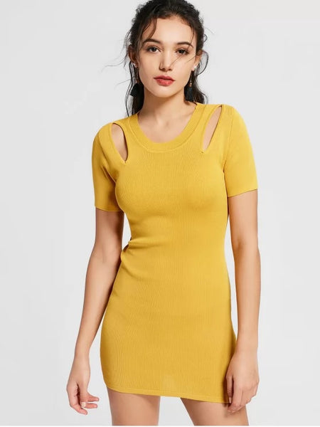 Trendy Cut Out Knitted Fitted Dress