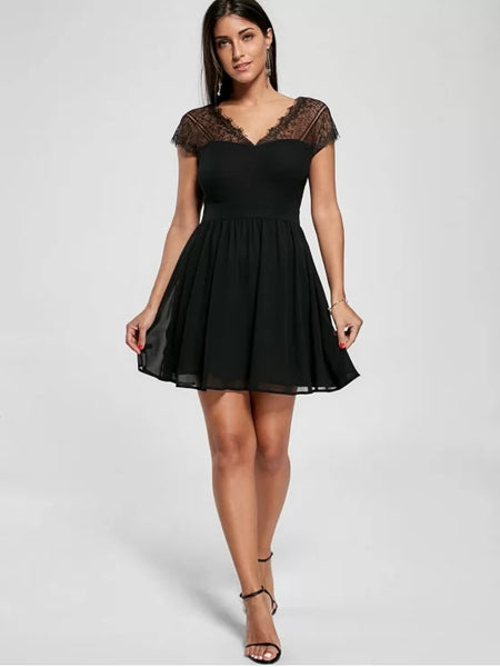 Fashion Lace Yoke Open Back Skater Dress