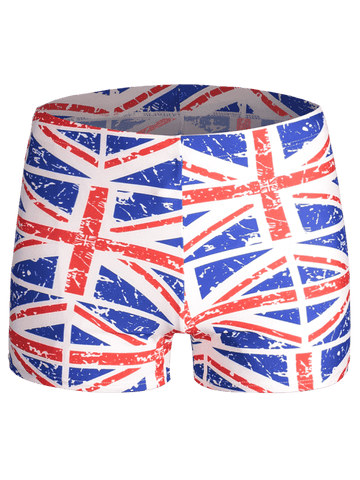Fashion Distressed Flag Print Swim Trunks