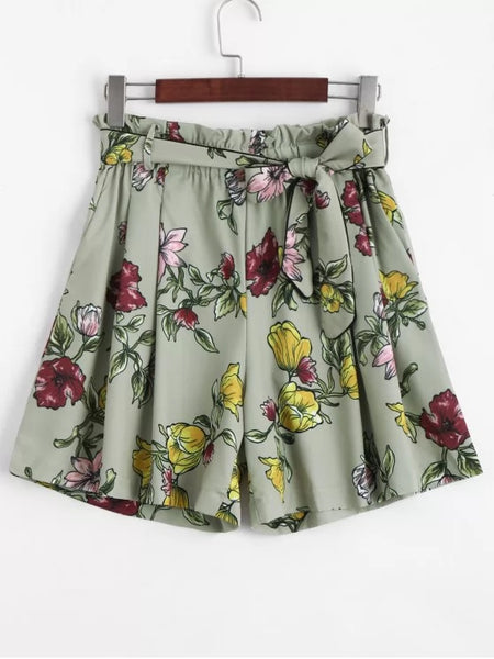 Trendy Smocked Floral High Waisted Shorts