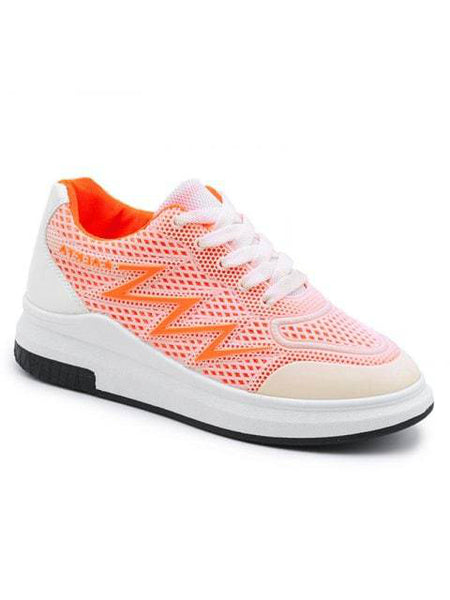 Luxurious Faux Leather Panel Athletic Shoes