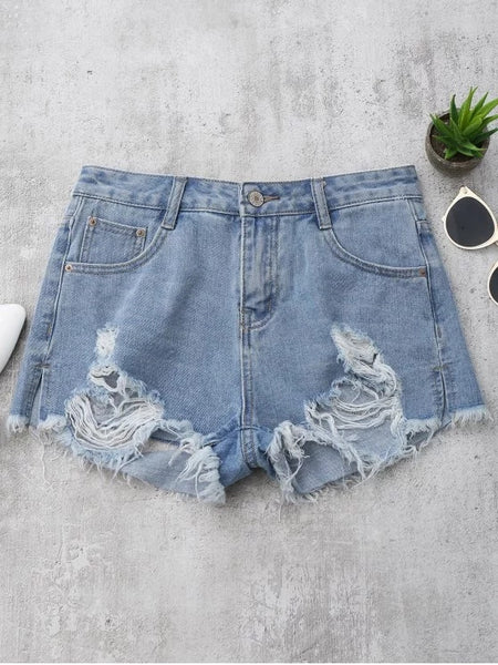Trendy Denim Distressed Cutoffs Shorts