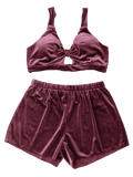 Cut Out Velvet Top and Shorts Set