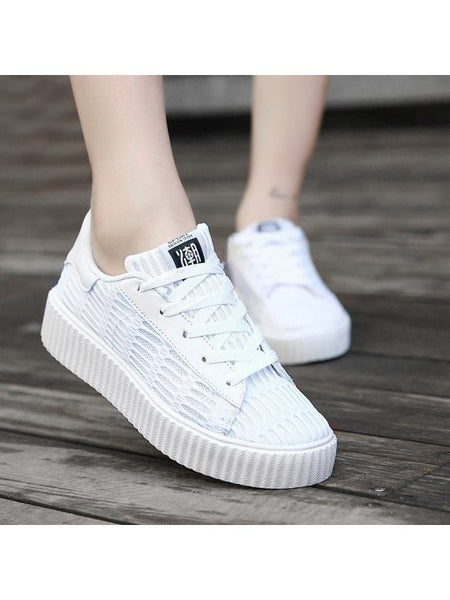 Chic Tie Up Mesh Breathable Athletic Shoes