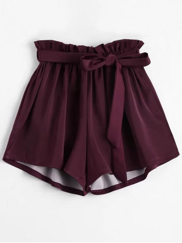Trendy Smocked Belted High Waisted Shorts