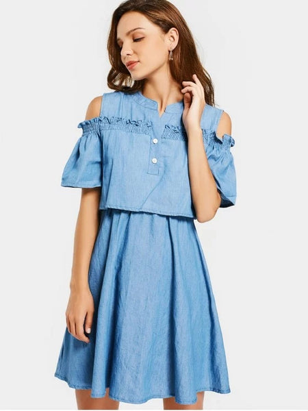 Trendy Cold Shoulder Ruffles A Line Dress