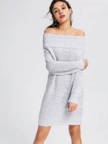 Trendy Off The Shoulder SweaterLight Gray  Dress