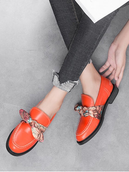 Trendy Stitching Bow PU Leather Flat Shoes