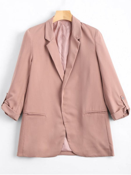 Gorgeous Lapel Buttoned Tabs Sleeve Blazer