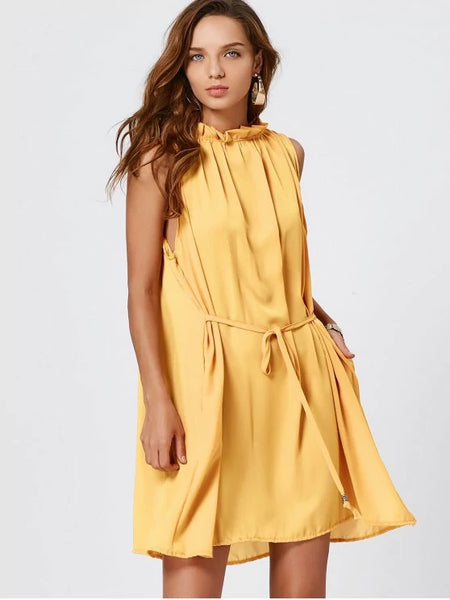 Cute Self Tie Ruffle Neck Chiffon Dress