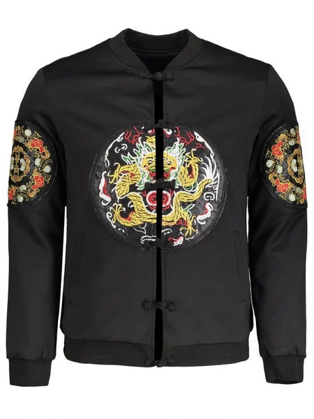 Trendy Embroidered Applique Bomber Jacket