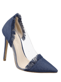 Fashion Stiletto Heel Fringe Denim Pumps