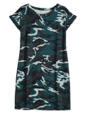 Cheap Round Collar Camouflage Shift Dress