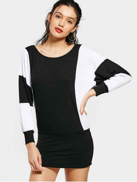 Pretty Contrast Dolman Sleeve Mini Dress