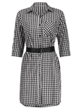 Cute Button Up Checked Belted Dress