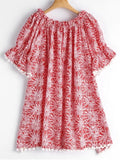 Stunning Poms Printed Off Shoulder Trapeze Dress