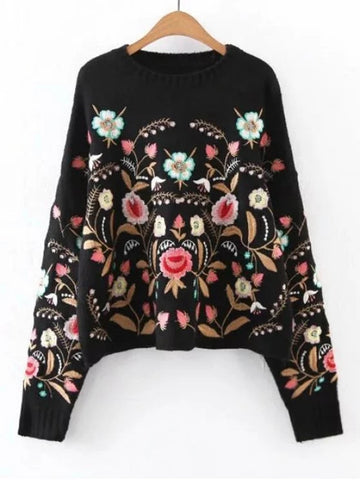 Cute Oversized Floral Embroidered Sweater